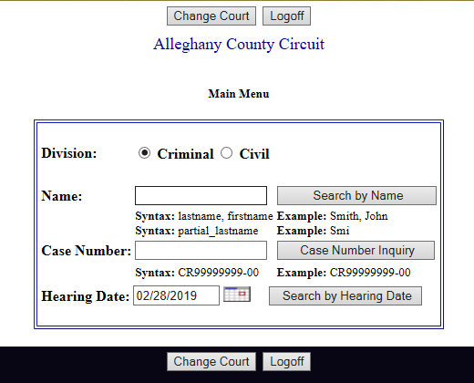 Virginia Court Case Information (Search) - Criminal Data
