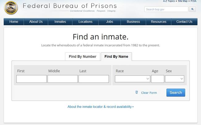 BOP federal inmate locator