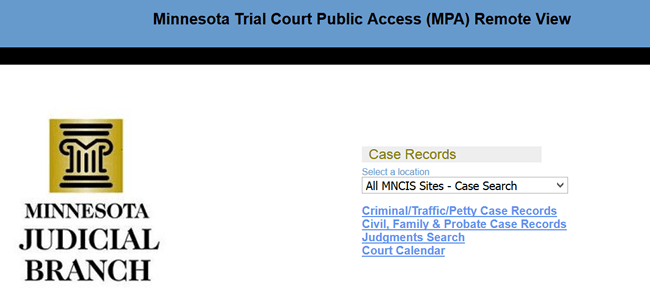 MNCIS Court Access (Minnesota Court Information System