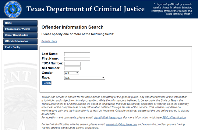 Department of Corrections Inmate Search - Criminal Data