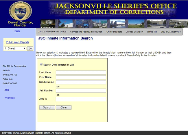 JSO inmate search