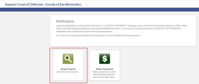 Smart Search county of San Bernardino